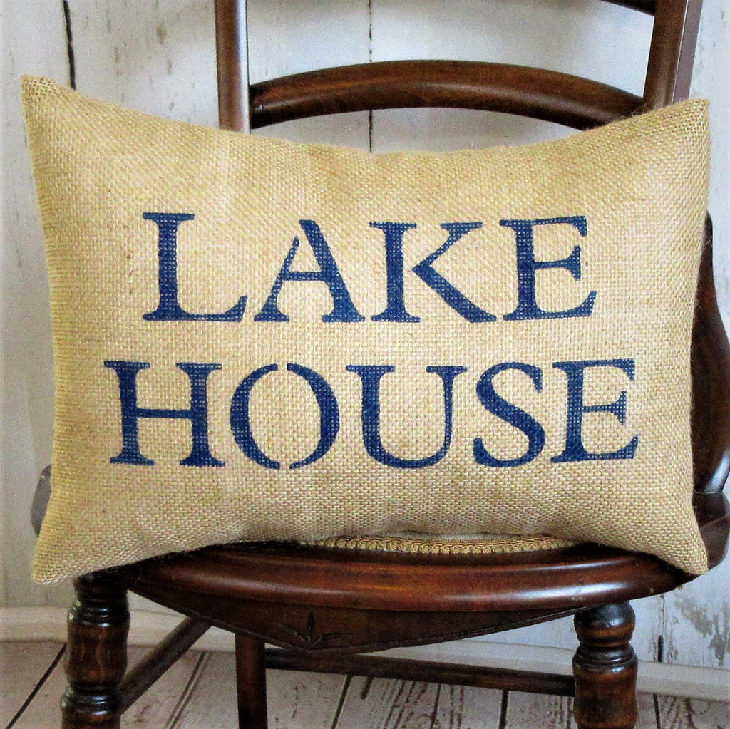 Lake House Lumbar Burlap Pillow