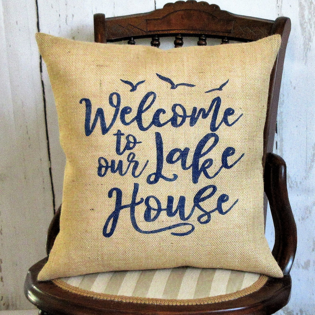Welcome to the lake house burlap pillow