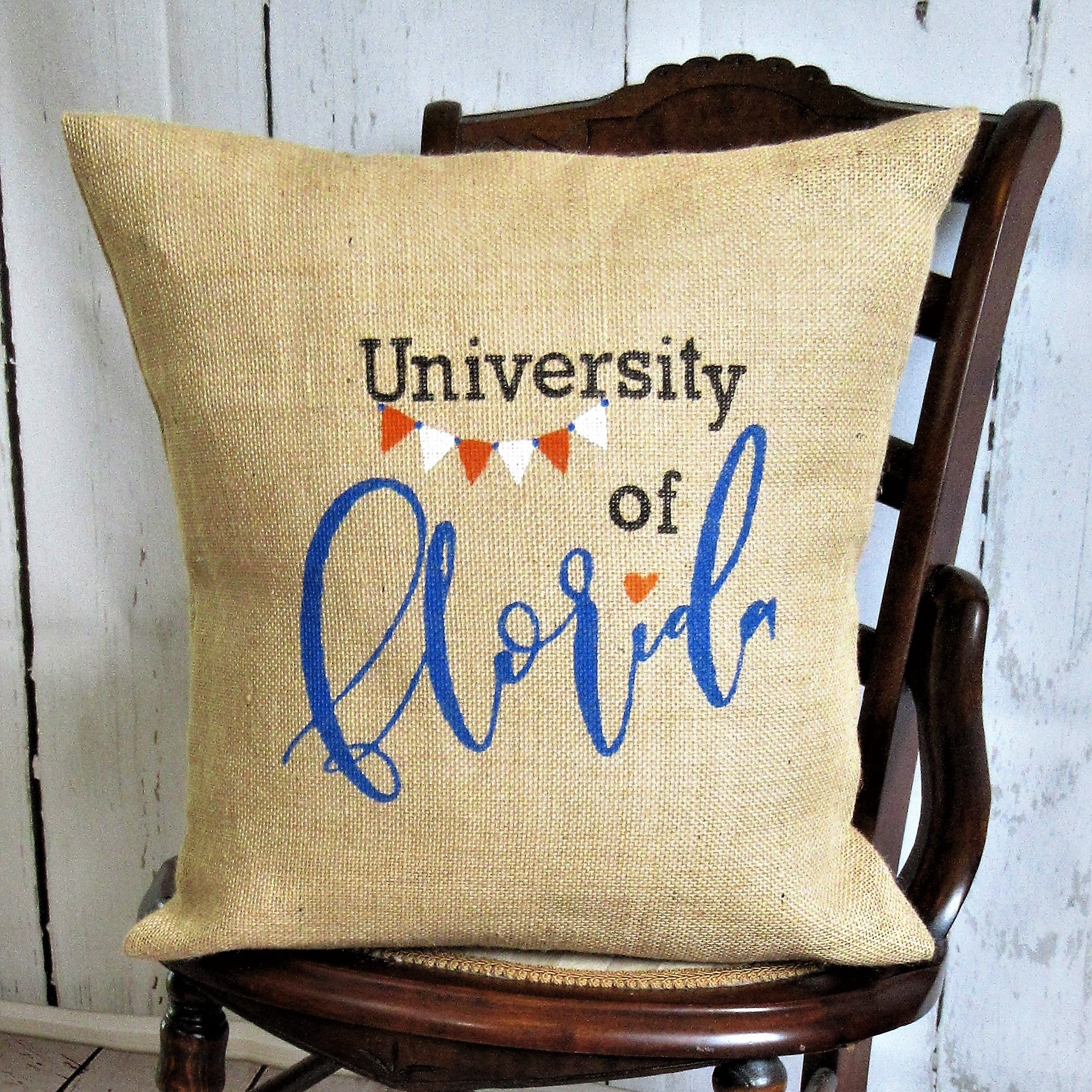 University of Florida burlap pillow