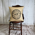 Pop Man Myth Legend Burlap pillow with custom name option