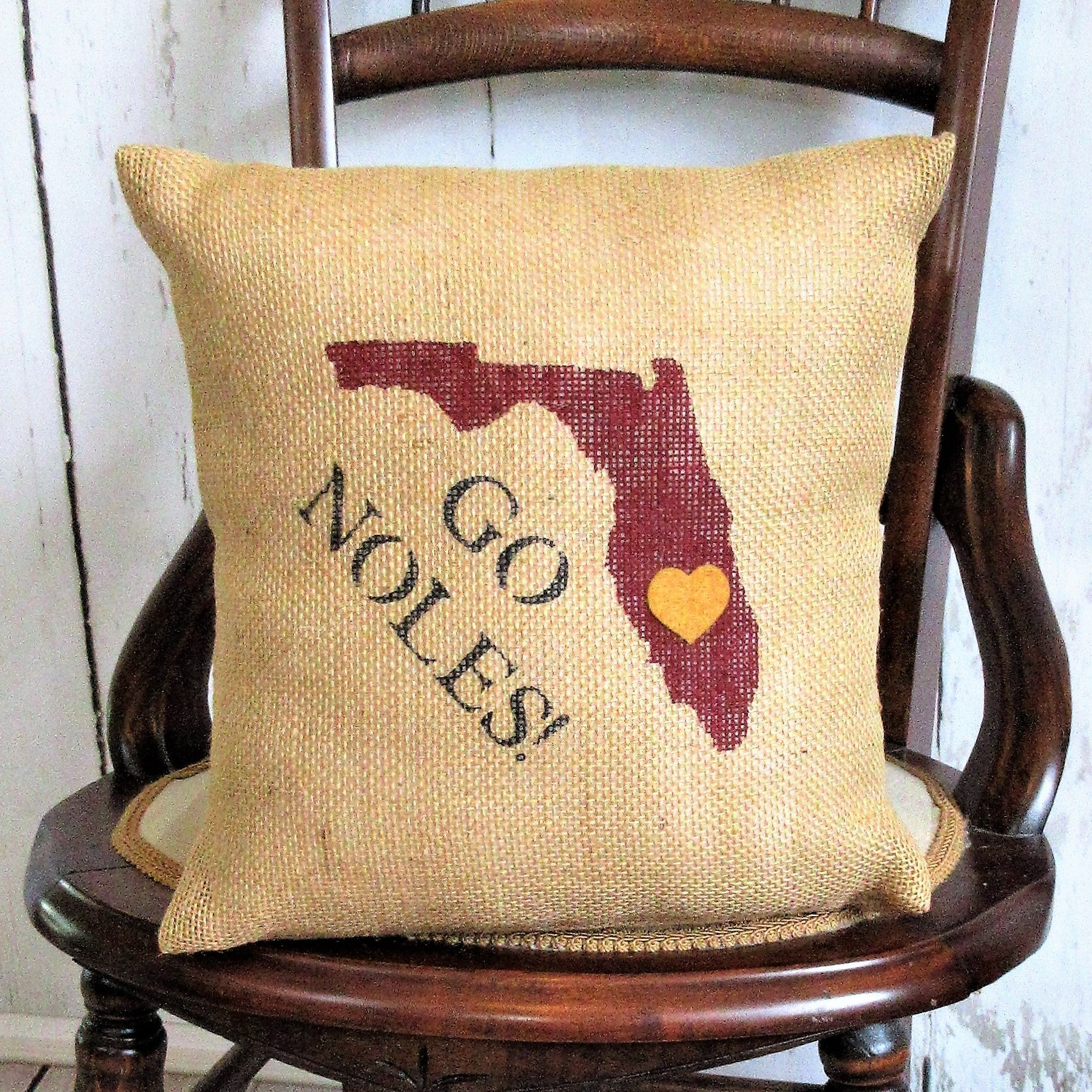 Florida State Seminoles Burlap Pillow