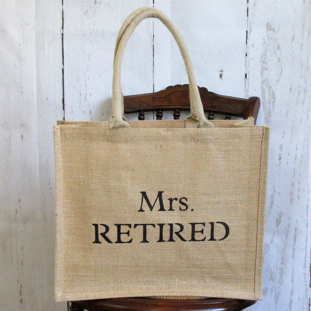 Mrs. Retired tote bag, Ms. Retired gift , Burlap Tote Bag, reusable grocery bags