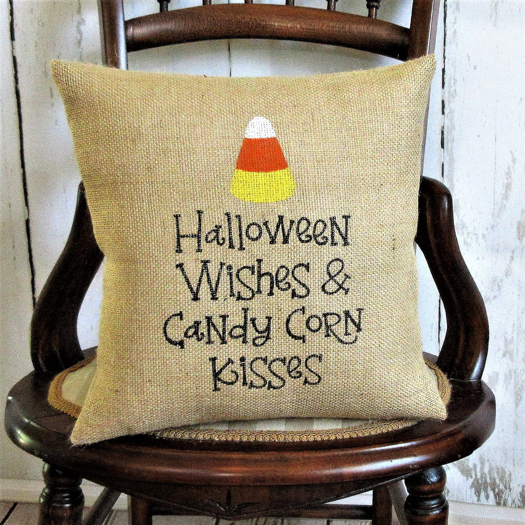 Halloween wishes and candy corn kisses Burlap Pillow