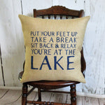 Relax your at theLake burlap pillow