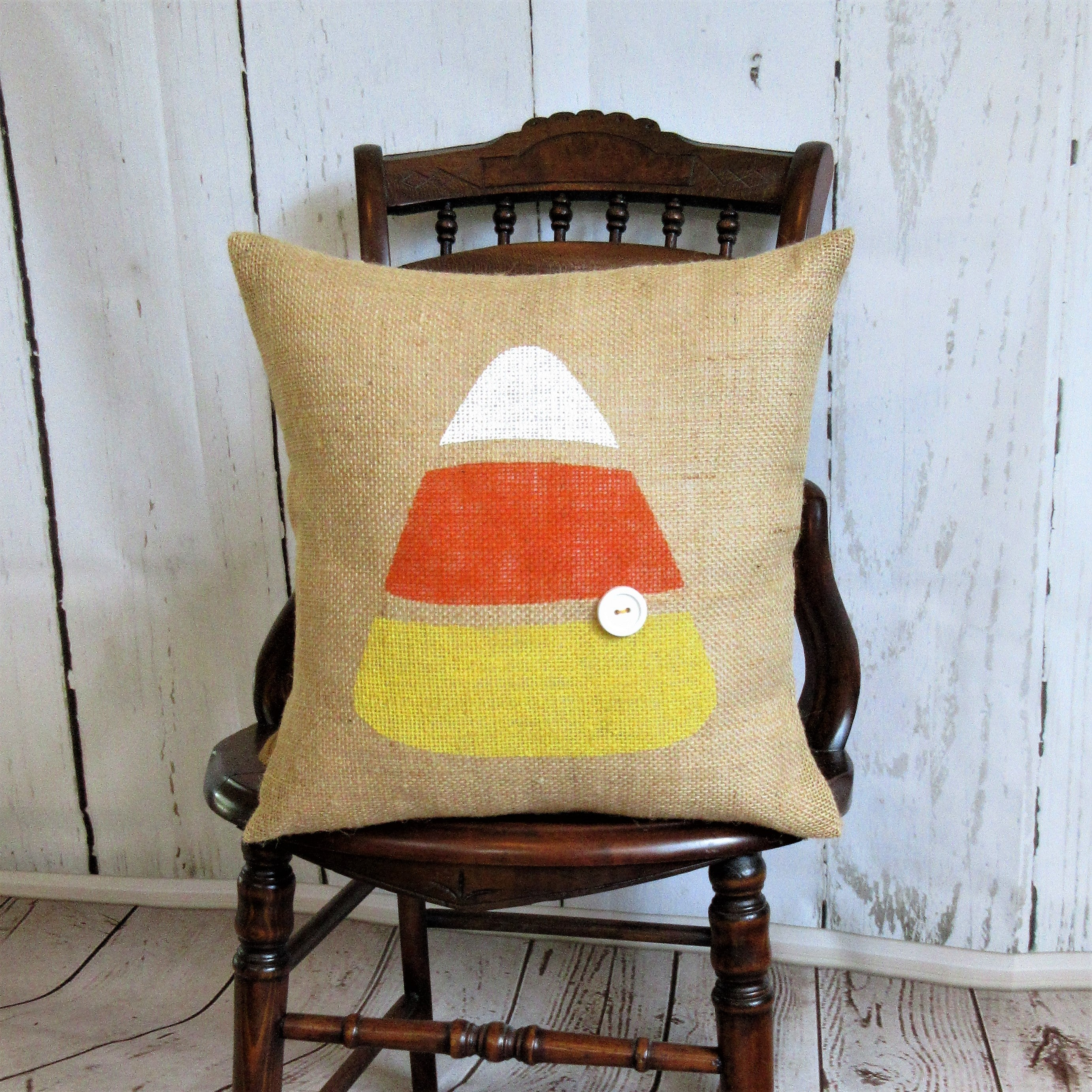 Candy Corn Burlap Pillow