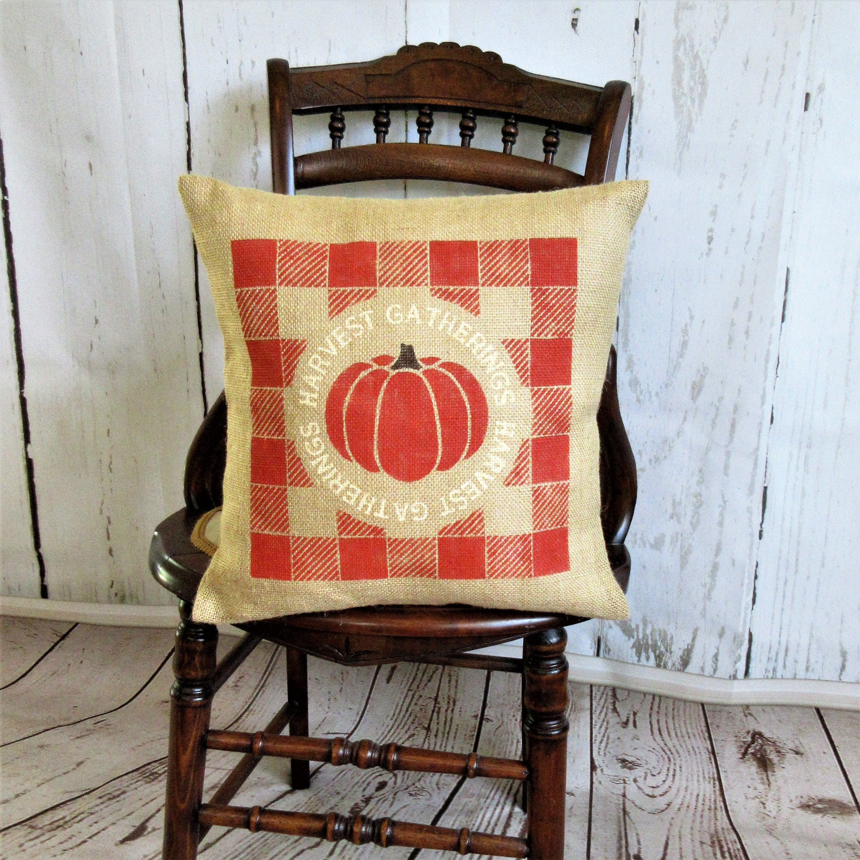 Pumpkin Buffalo Check Pillow