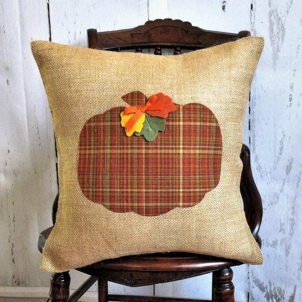 Plaid Pumpkin Applique Burlap Pillow
