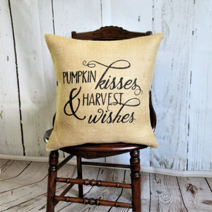 Pumpkin Kisses Harvest Wishes Burlap Pillow