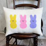 Peeps bunnies burlap lumbar pillow