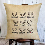 Reindeer Names Christmas Pillow