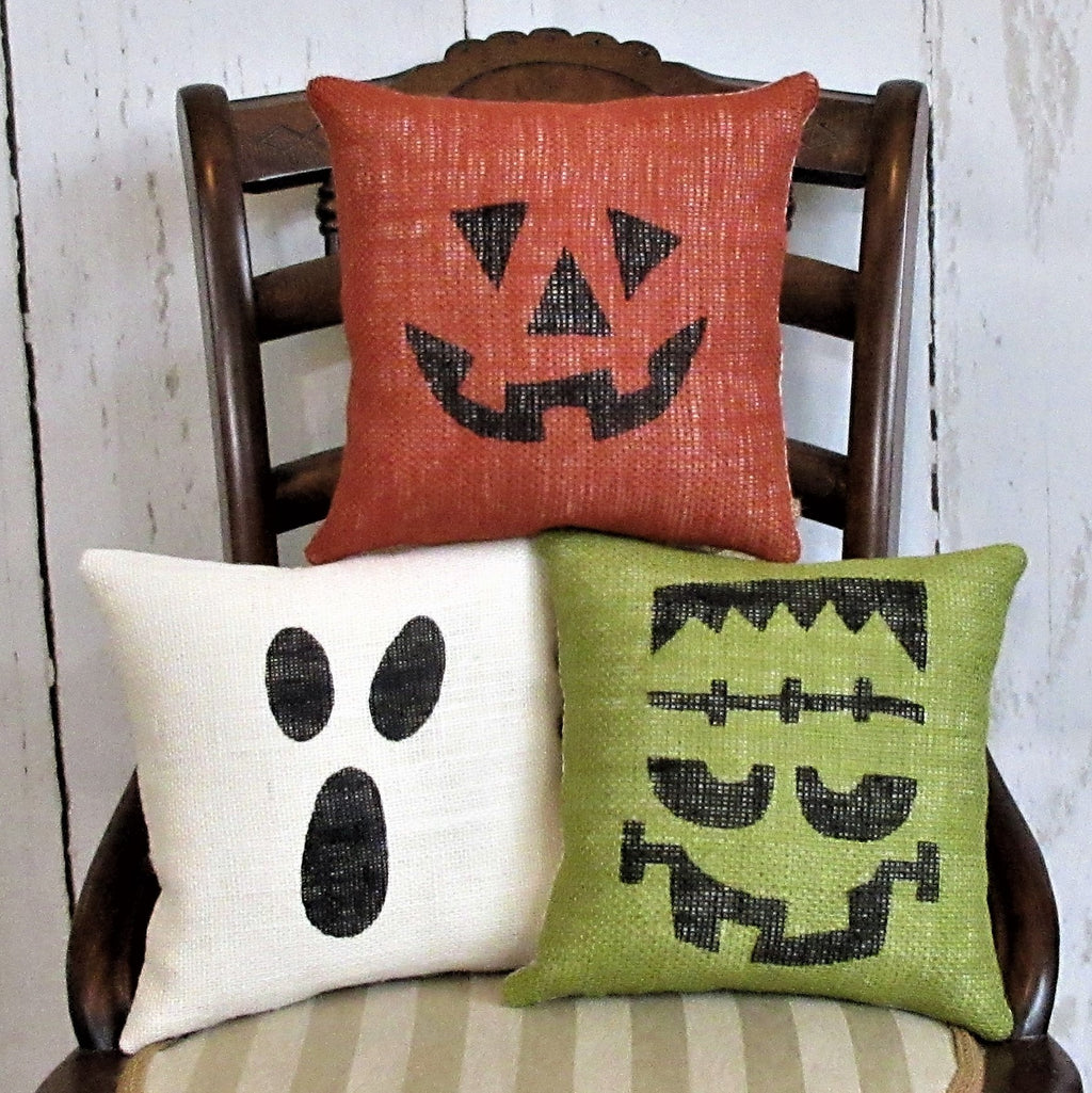 Pumpkin, Ghost, & Frankenstein Burlap Halloween Pillows