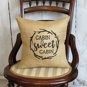 Cabin Sweet Cabin Burlap Pillow