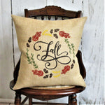 Fall wreath Burlap Pillow