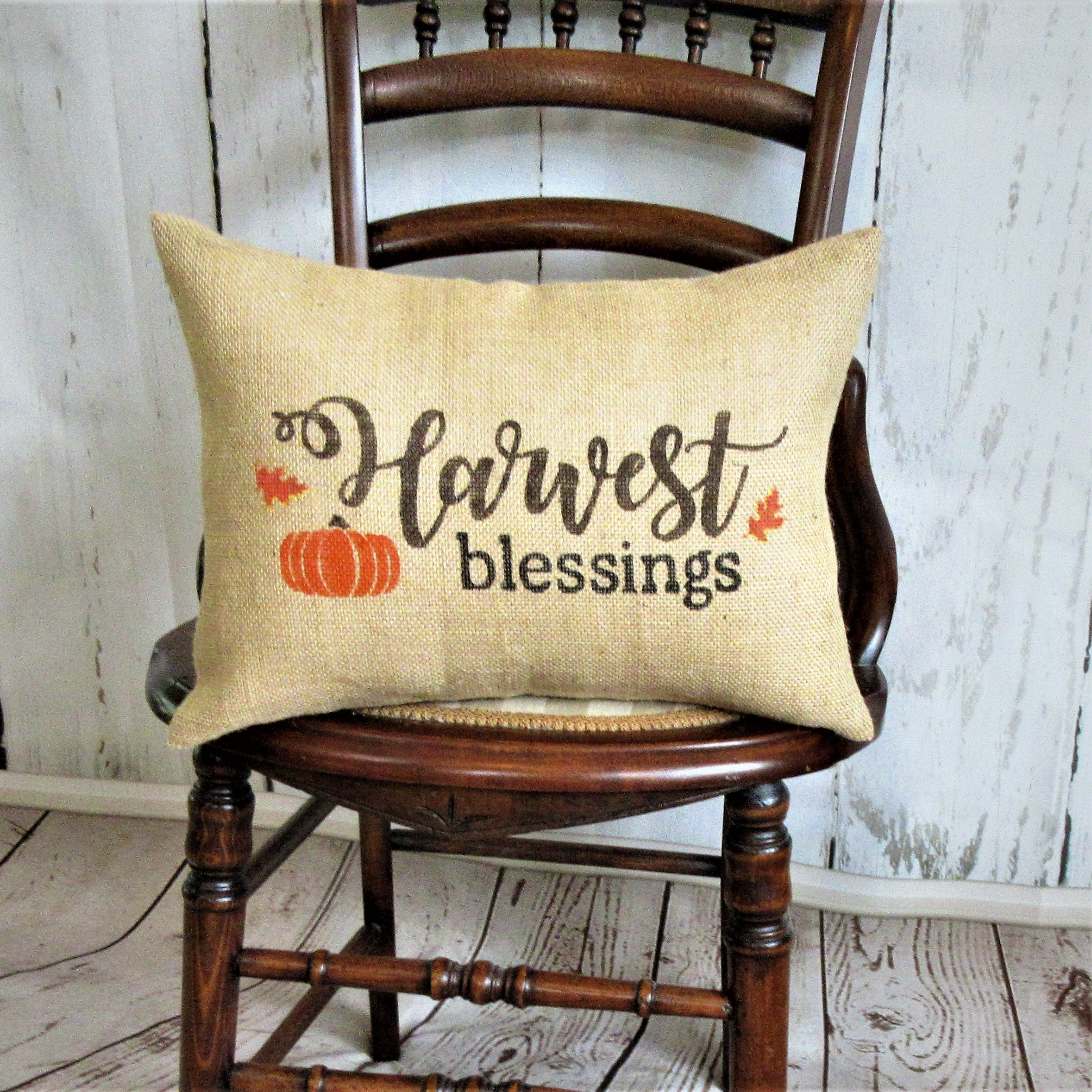 Harvest Blessings lumbar Burlap Pillow