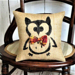 Owl with Plaid Tie Halloween Burlap Pillow