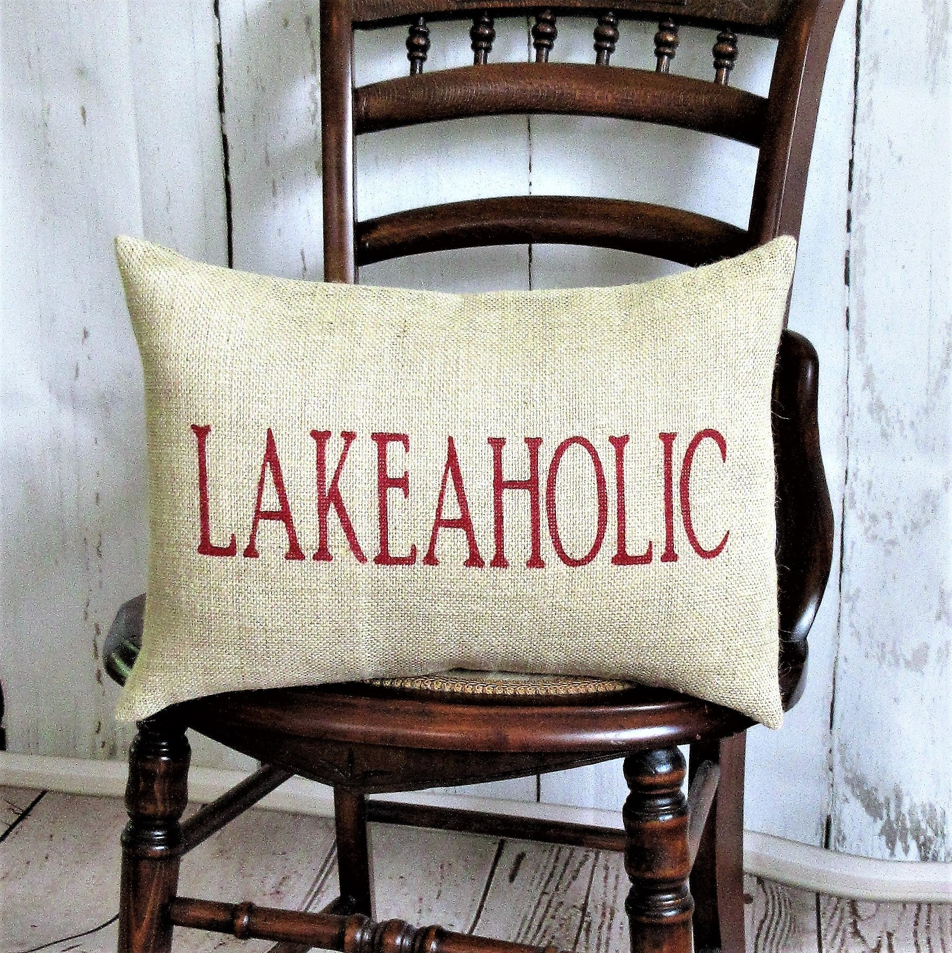 Lakeaholic Burlap Pillow