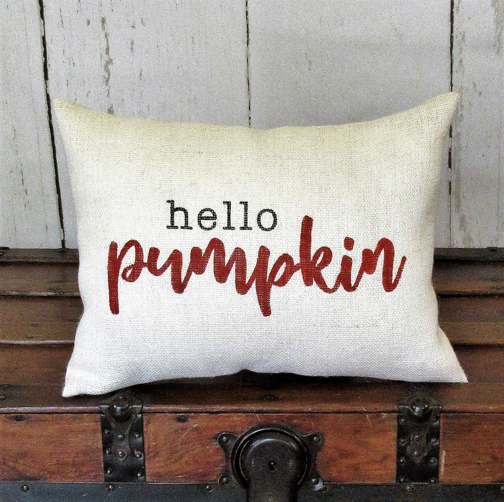 Hello Pumpkin lumbar Burlap Pillow