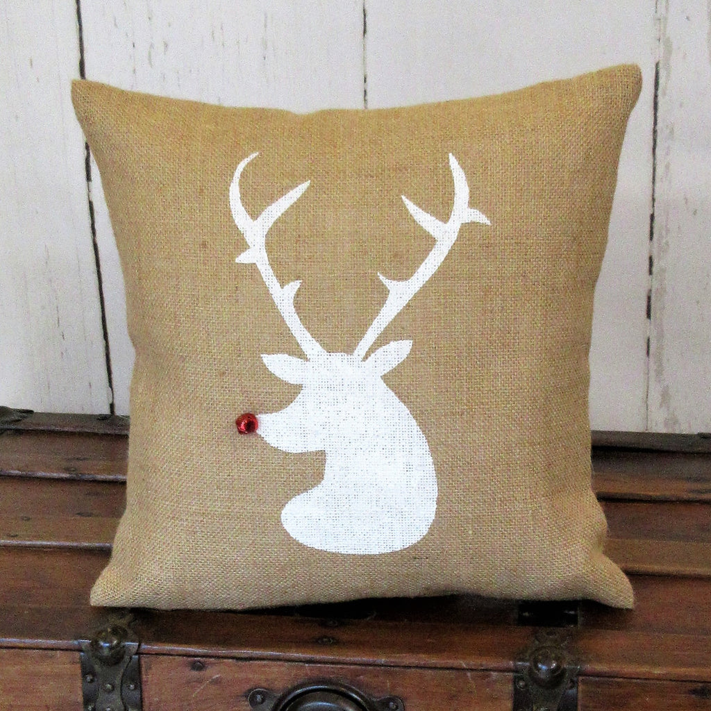 Rudolph reindeer Head Burlap Pillow