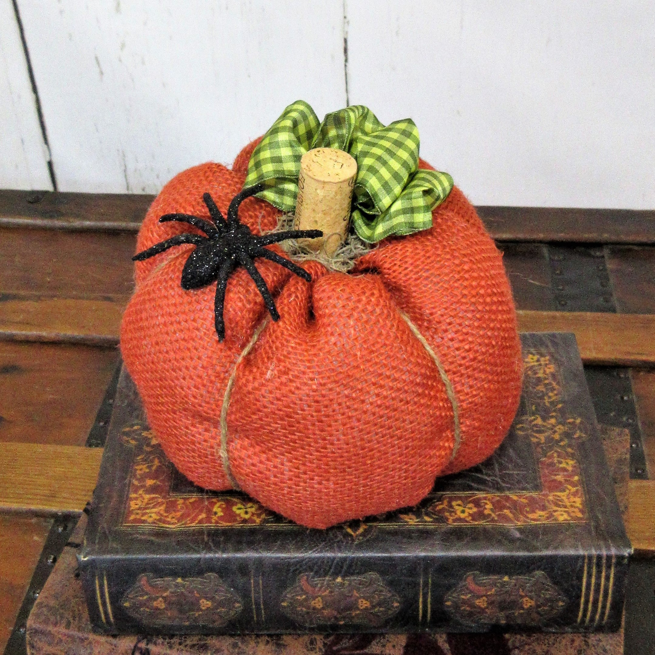 Orange Burlap Spider Halloween Pumpkin