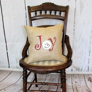 Joy Snowman Burlap Pillow