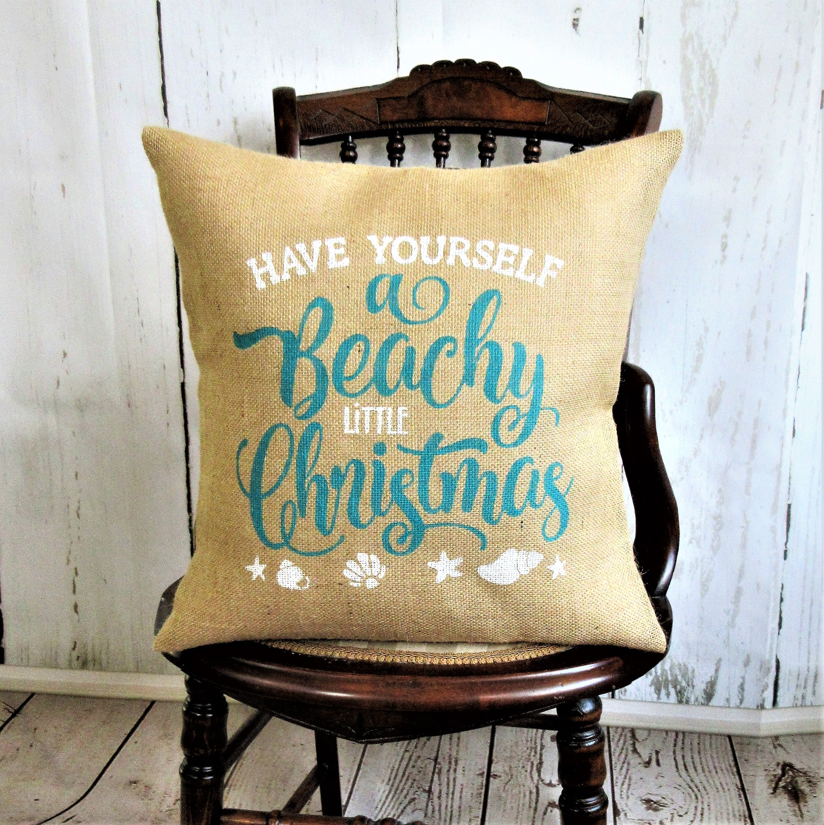 Have your self a Beachy Little Christmas Burlap Pillow