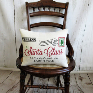 Letter to Santa Burlap Pillow