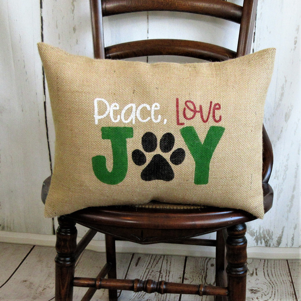Peace, Love, Joy paw print Burlap Pillow