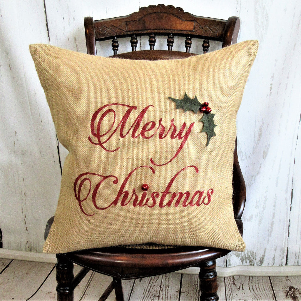 Merry Christmas holly Burlap Pillow