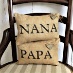 Nana, Papa, Personalized Mini Burlap Pillow Set
