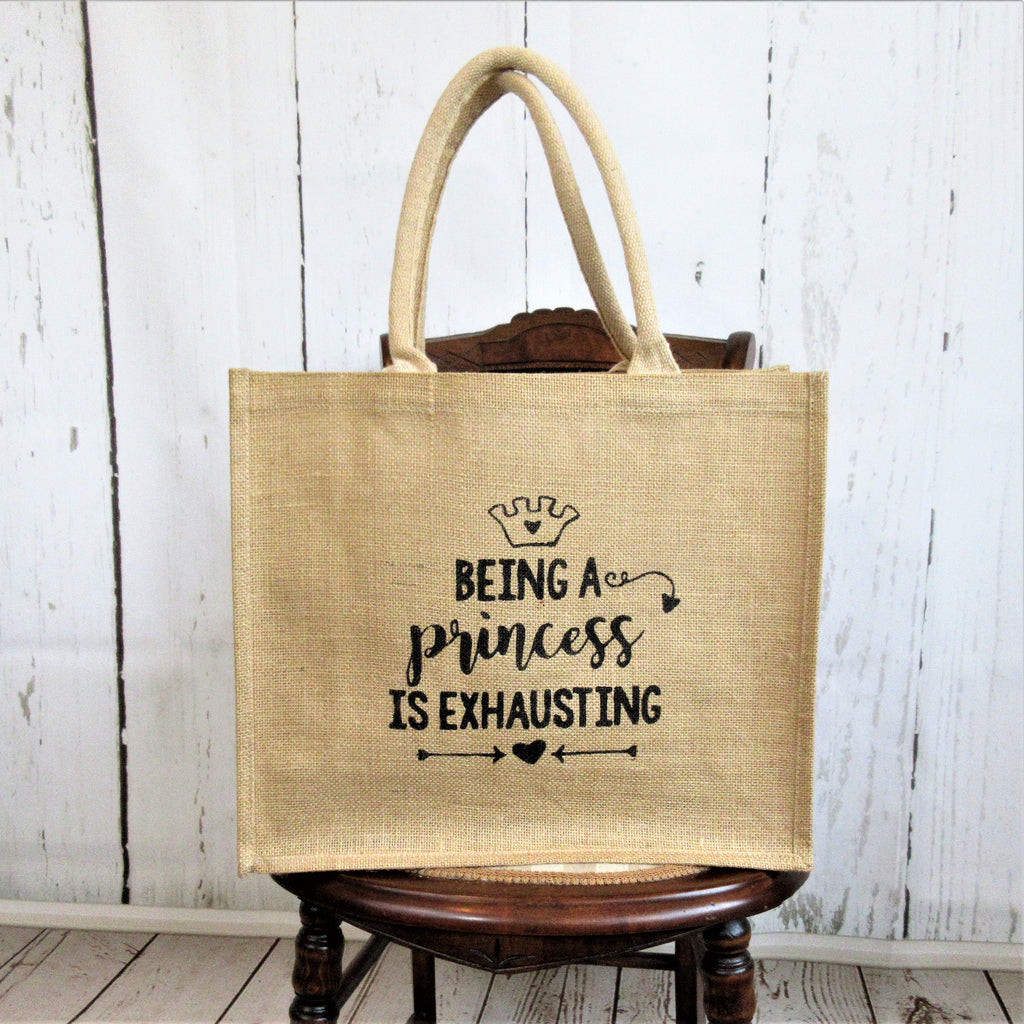 Being a Princess Burlap Tote Bag