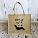 I Love My Wiener burlap tote bag