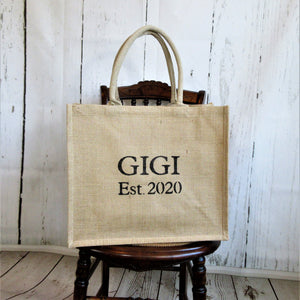 GIGI Est. year Personalized Burlap Tote Bag