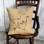 Tree Carved Heart Initials Burlap Pillow