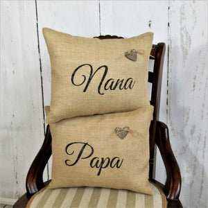 Nana, Papa, Medium Size Burlap Pillow