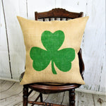 Shamrock Three leaf Clover Burlap Pillow