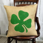 Shamrock Four Leaf Clover Burlap Pillow