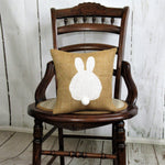 Bunny behind Burlap Easter pillow