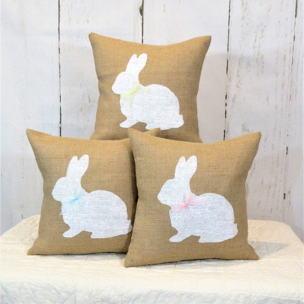 Easter Bunny Burlap Pillow
