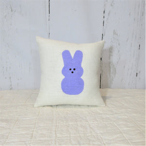Easter Marshmallow bunnies Ivory Burlap Pillow