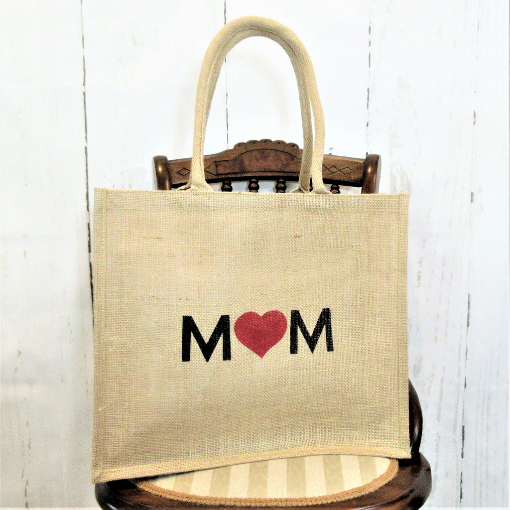 Mom heart Burlap Tote Bag
