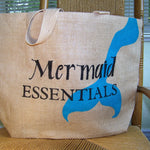Mermaid Essentials Large Burlap Tote Bag
