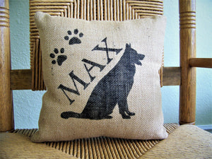 German Shepard Personalized Burlap Pillow