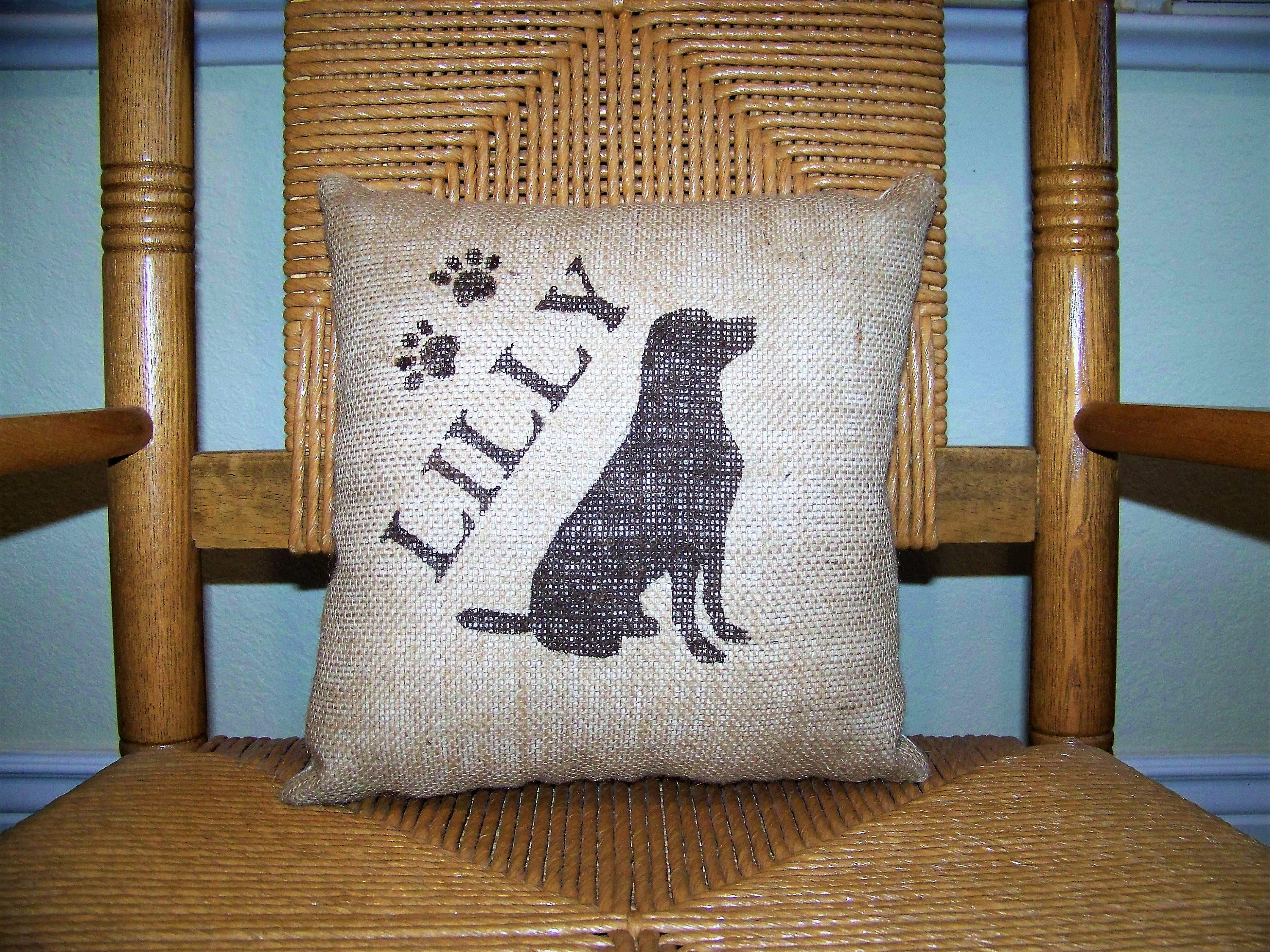 Personalized Labrador Burlap Pillow