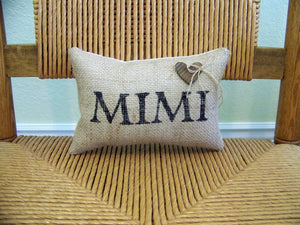 Mom, Mimi, Custom Name Personalized Burlap pillow