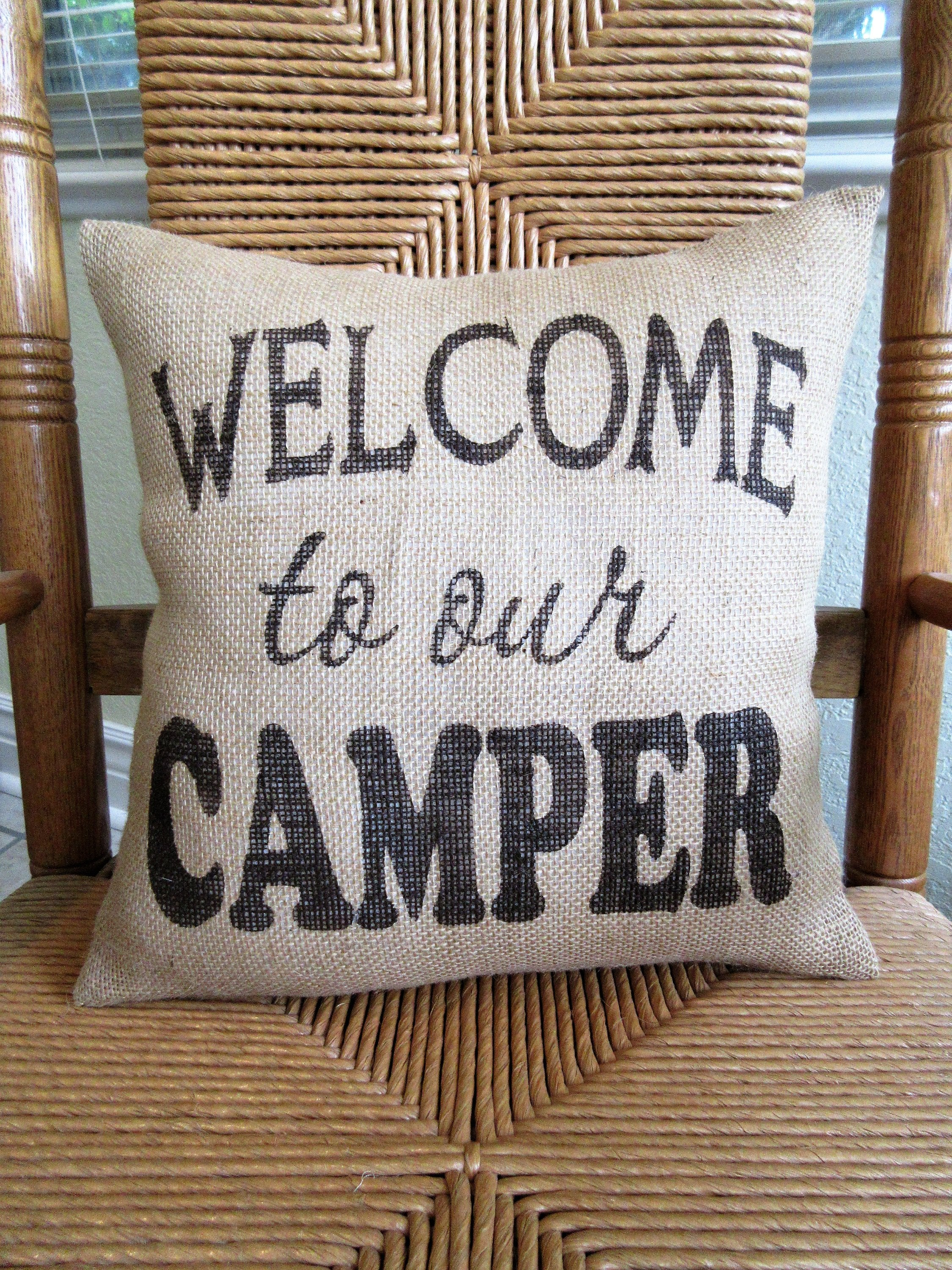 Welcome to Our Camper Burlap Pillow