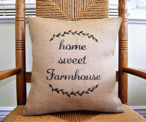 Home Sweet Farmhouse Burlap Pillow