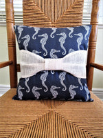 Seahorse Canvas Pillow with a Burlap Bow