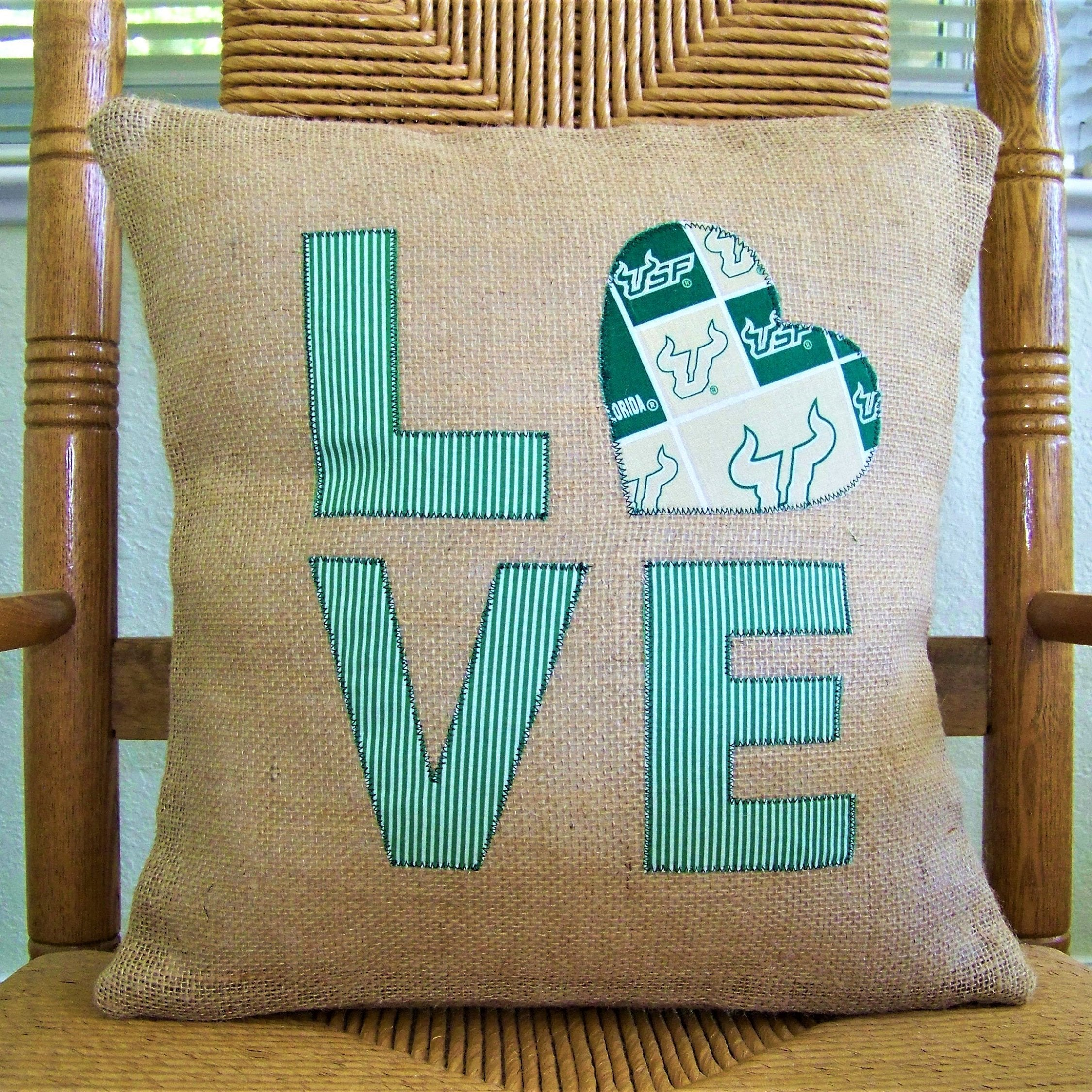 University of South Florida Love Burlap Pillow