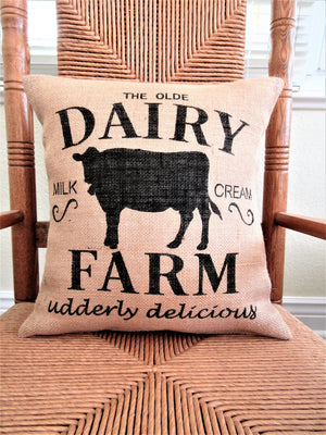Cow Dairy Farm Burlap Pillow