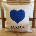 Papa Custom Name Burlap Heart Pillow